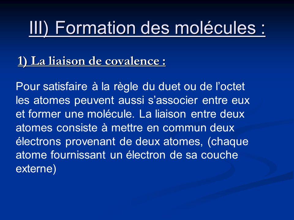 III) Formation des molécules : 1) La liaison de covalence : Pour satisfaire à la règle du duet ou de loctet les atomes peuvent aussi sassocier entre e