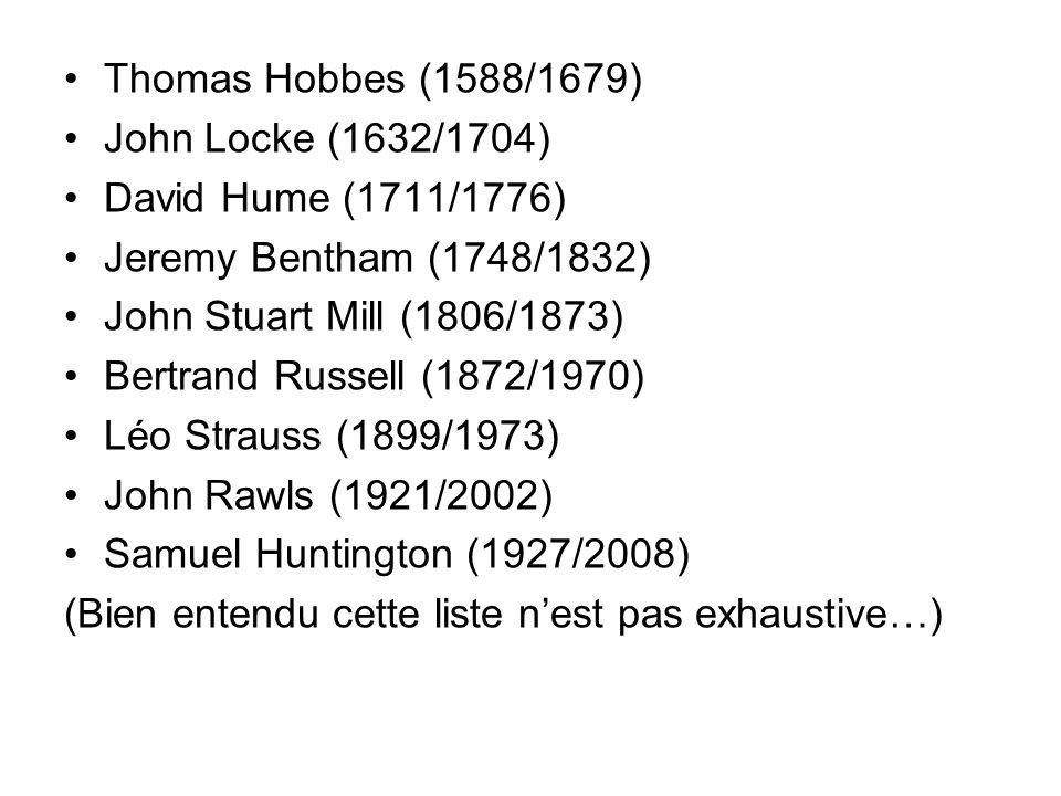 Thomas Hobbes (1588/1679) John Locke (1632/1704) David Hume (1711/1776) Jeremy Bentham (1748/1832) John Stuart Mill (1806/1873) Bertrand Russell (1872/1970) Léo Strauss (1899/1973) John Rawls (1921/2002) Samuel Huntington (1927/2008) (Bien entendu cette liste nest pas exhaustive…)
