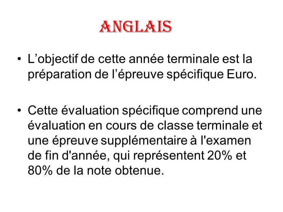 ANGLAIS Lobjectif de cette année terminale est la préparation de lépreuve spécifique Euro. Cette évaluation spécifique comprend une évaluation en cour