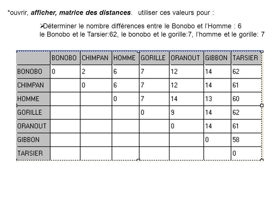 utiliser ces valeurs pour : Déterminer le nombre différences entre le Bonobo et lHomme : 6 le Bonobo et le Tarsier:62, le bonobo et le gorille:7, lhom