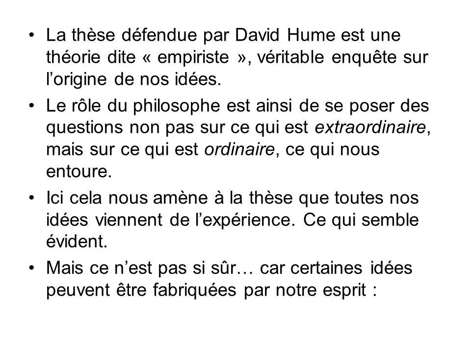 La thèse défendue par David Hume est une théorie dite « empiriste », véritable enquête sur lorigine de nos idées.