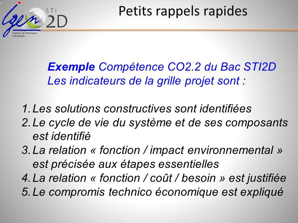 Exemple Compétence CO2.2 du Bac STI2D Les indicateurs de la grille projet sont : 1.Les solutions constructives sont identifiées 2.Le cycle de vie du s