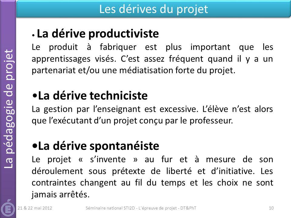 Séminaire national STI2D - L'épreuve de projet - DT&PhT10 Les dérives du projet La pédagogie de projet 21 & 22 mai 2012 La dérive productiviste Le pro