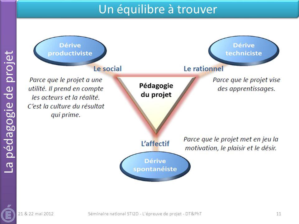 Séminaire national STI2D - L'épreuve de projet - DT&PhT11 Un équilibre à trouver La pédagogie de projet 21 & 22 mai 2012