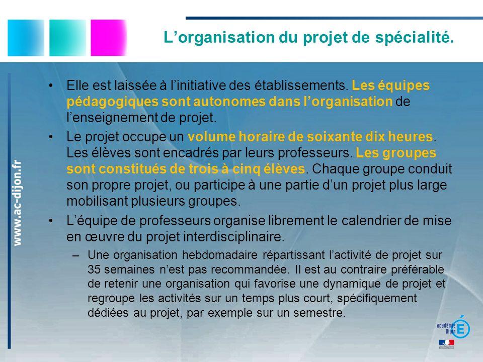 Lorganisation du projet de spécialité. Elle est laissée à linitiative des établissements. Les équipes pédagogiques sont autonomes dans lorganisation d