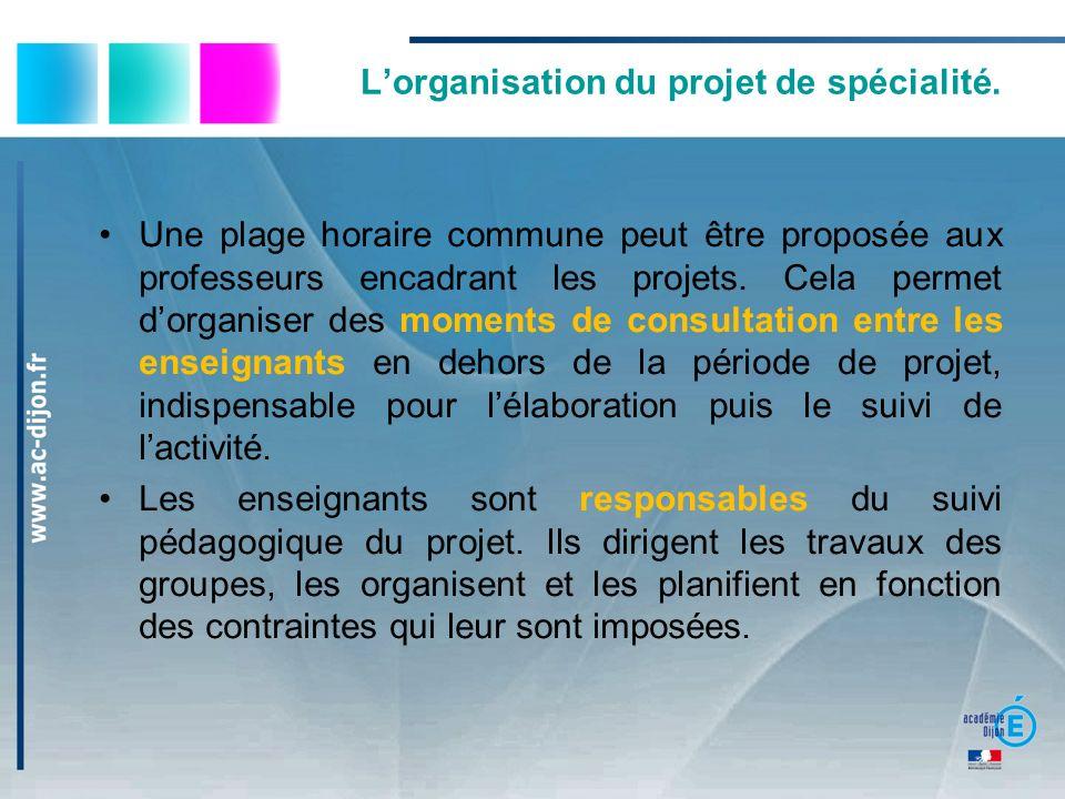 Lorganisation du projet de spécialité. Une plage horaire commune peut être proposée aux professeurs encadrant les projets. Cela permet dorganiser des