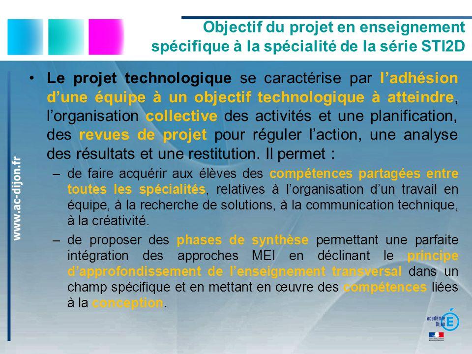 Objectif du projet en enseignement spécifique à la spécialité de la série STI2D Le projet technologique se caractérise par ladhésion dune équipe à un