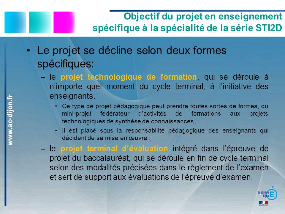 Objectif du projet en enseignement spécifique à la spécialité de la série STI2D Le projet se décline selon deux formes spécifiques: –le projet technol