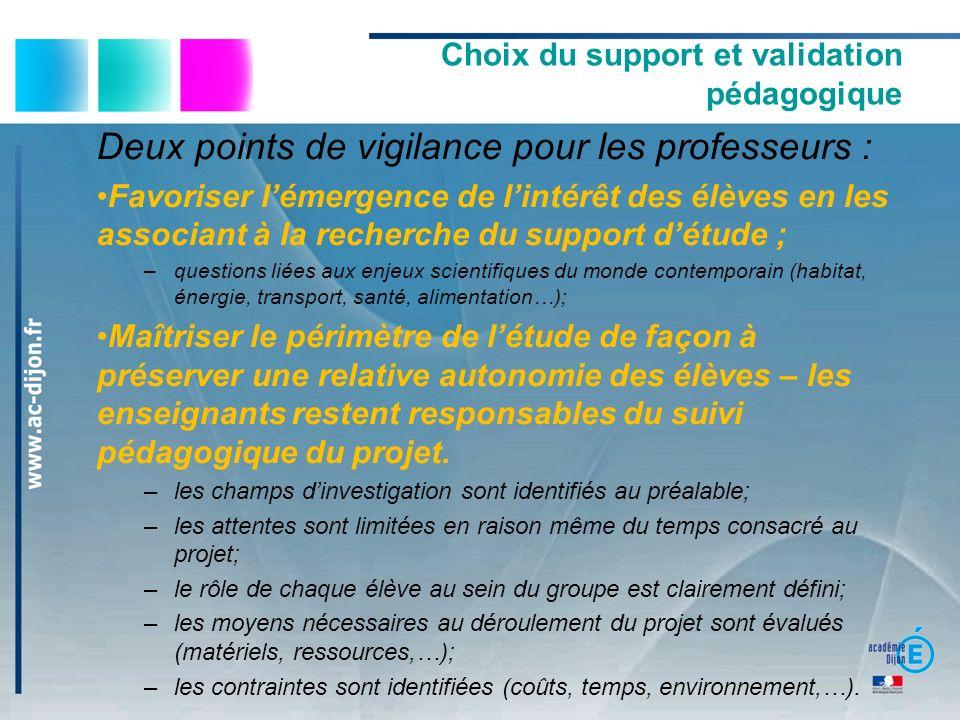 Choix du support et validation pédagogique Deux points de vigilance pour les professeurs : Favoriser lémergence de lintérêt des élèves en les associan