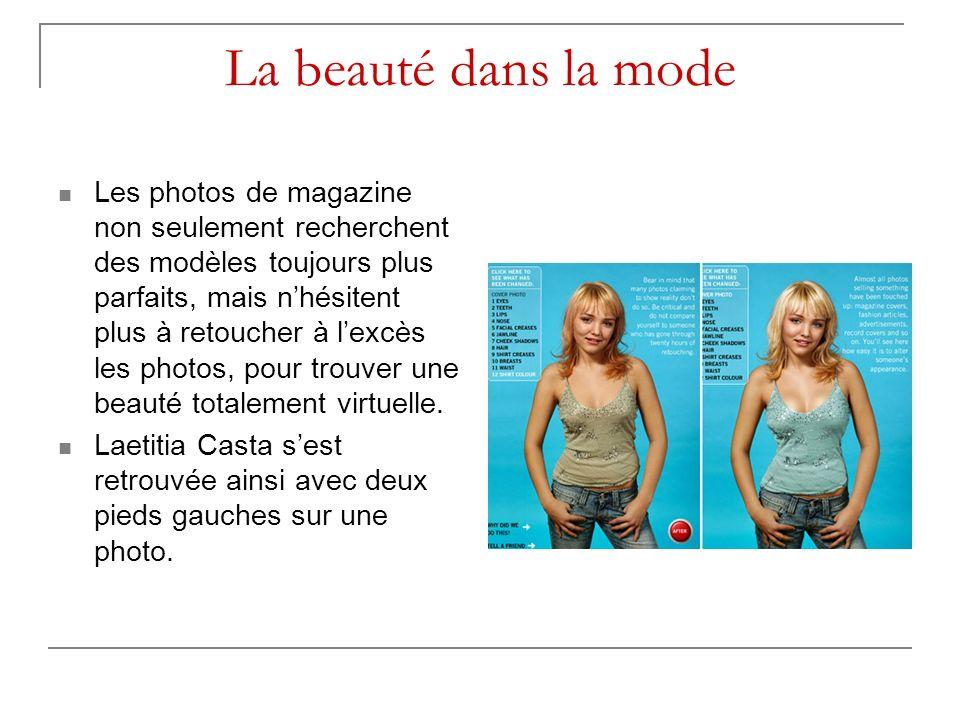 La beauté dans la mode Les photos de magazine non seulement recherchent des modèles toujours plus parfaits, mais nhésitent plus à retoucher à lexcès l