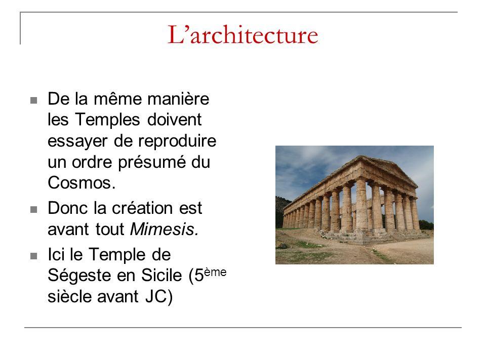 Larchitecture De la même manière les Temples doivent essayer de reproduire un ordre présumé du Cosmos. Donc la création est avant tout Mimesis. Ici le
