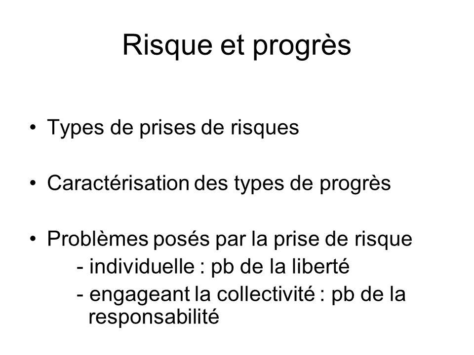 Risque et progrès Types de prises de risques Caractérisation des types de progrès Problèmes posés par la prise de risque - individuelle : pb de la lib