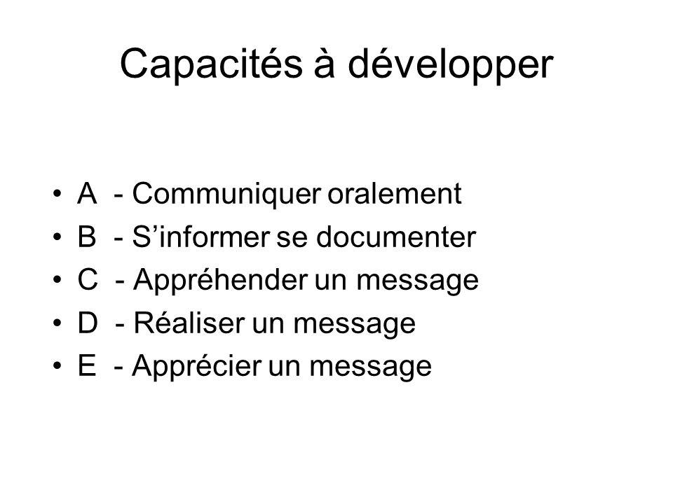 Capacités à développer A - Communiquer oralement B - Sinformer se documenter C - Appréhender un message D - Réaliser un message E - Apprécier un messa