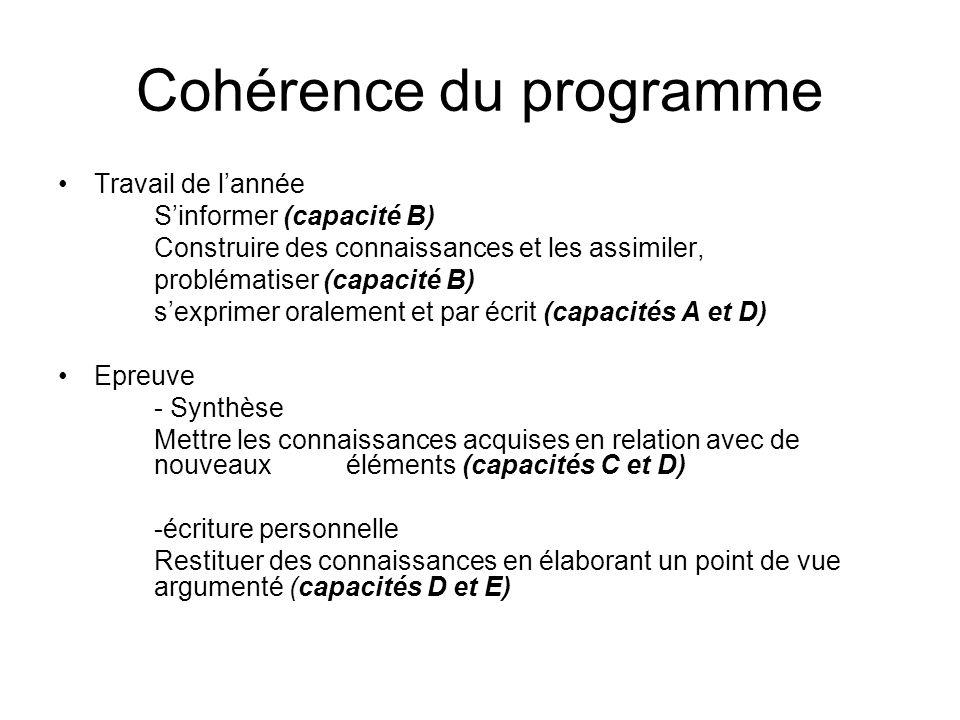 Cohérence du programme Travail de lannée Sinformer (capacité B) Construire des connaissances et les assimiler, problématiser (capacité B) sexprimer or