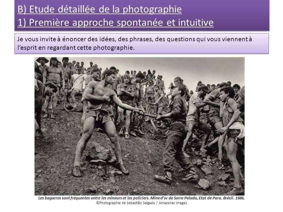B) Etude détaillée de la photographie 1) Première approche spontanée et intuitive Je vous invite à énoncer des idées, des phrases, des questions qui v