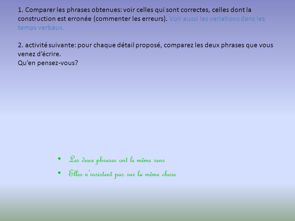 Mise en commun: 1. Comparer les phrases obtenues: voir celles qui sont correctes, celles dont la construction est erronée (commenter les erreurs). Voi