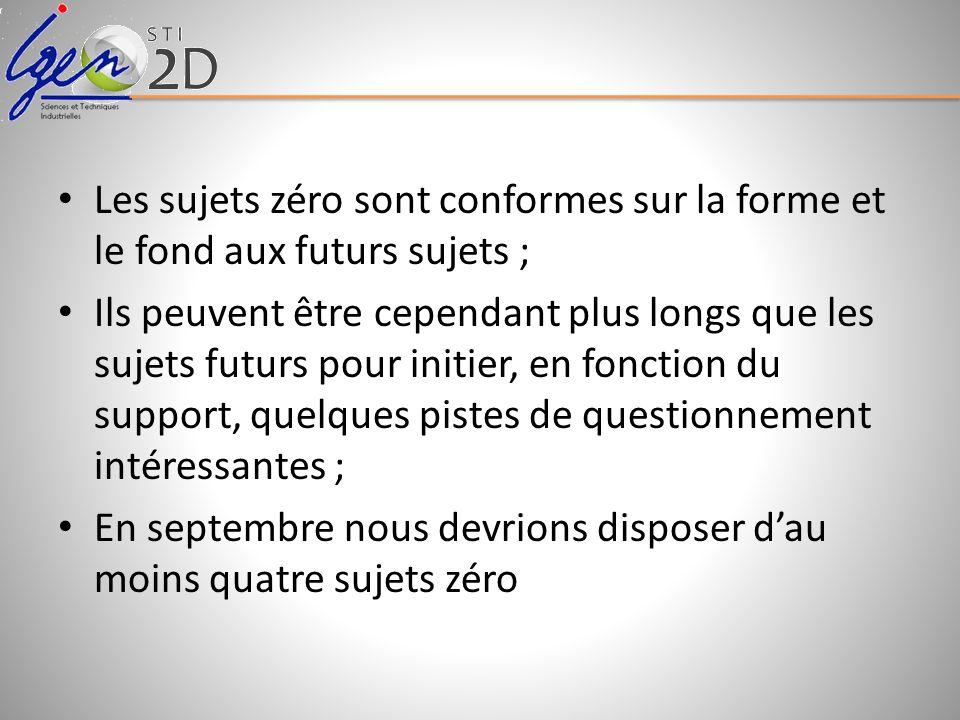 Les sujets zéro sont conformes sur la forme et le fond aux futurs sujets ; Ils peuvent être cependant plus longs que les sujets futurs pour initier, e