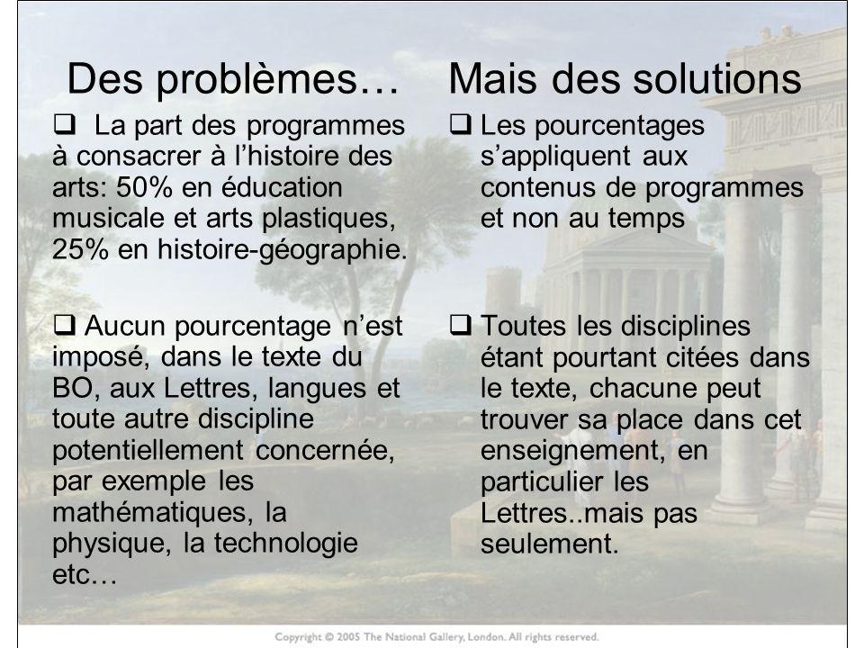 HISTOIRE DES ARTS Des problèmes… La part des programmes à consacrer à lhistoire des arts: 50% en éducation musicale et arts plastiques, 25% en histoir