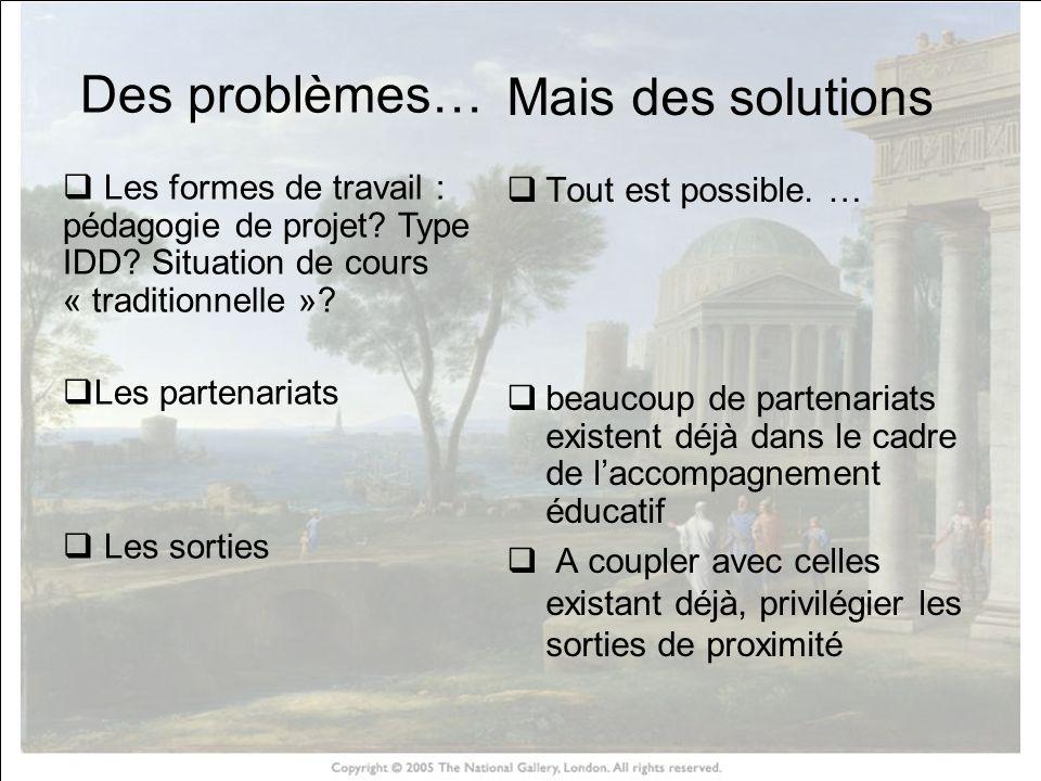 HISTOIRE DES ARTS Des problèmes… Les formes de travail : pédagogie de projet? Type IDD? Situation de cours « traditionnelle »? Les partenariats Les so