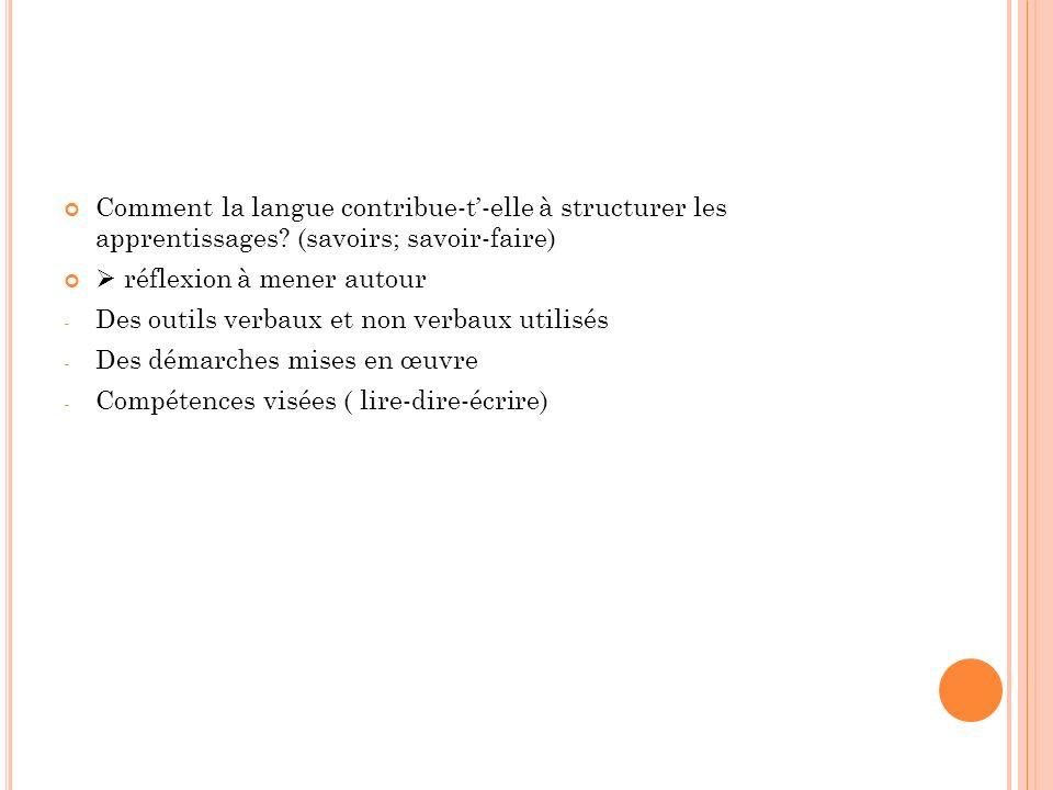 Comment la langue contribue-t-elle à structurer les apprentissages? (savoirs; savoir-faire) réflexion à mener autour - Des outils verbaux et non verba