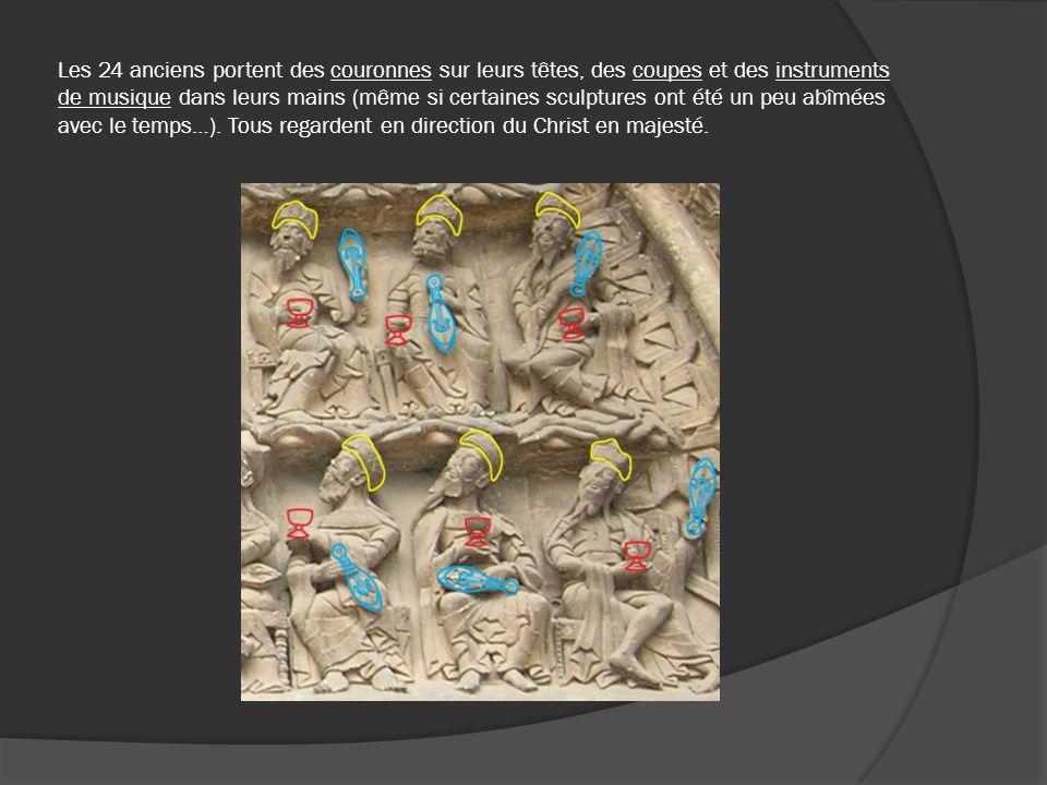 Les 24 anciens portent des couronnes sur leurs têtes, des coupes et des instruments de musique dans leurs mains (même si certaines sculptures ont été
