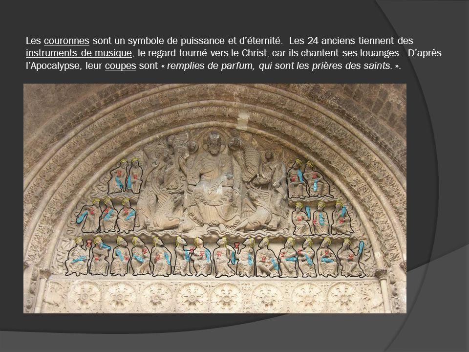 Les couronnes sont un symbole de puissance et déternité. Les 24 anciens tiennent des instruments de musique, le regard tourné vers le Christ, car ils