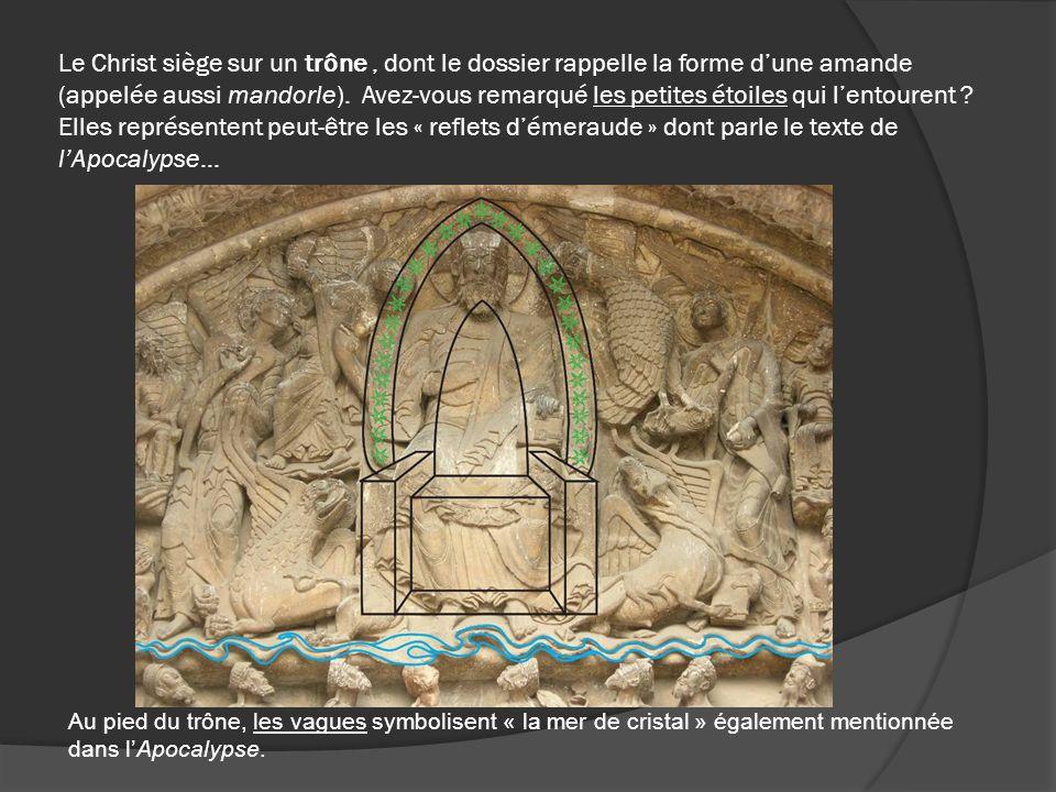 Le Christ siège sur un trône, dont le dossier rappelle la forme dune amande (appelée aussi mandorle). Avez-vous remarqué les petites étoiles qui lento