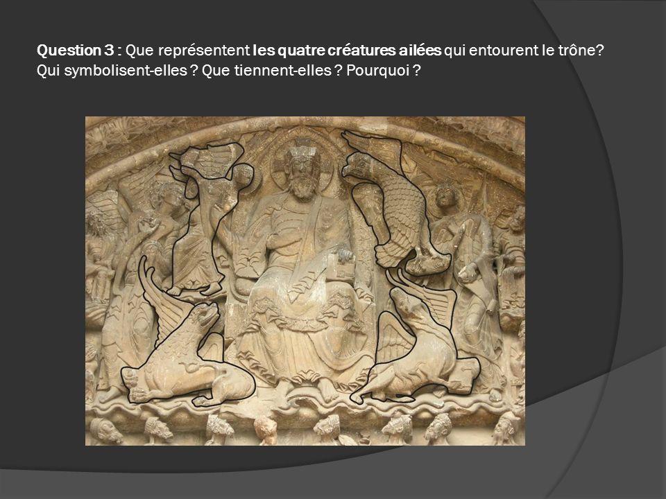 Question 3 : Que représentent les quatre créatures ailées qui entourent le trône? Qui symbolisent-elles ? Que tiennent-elles ? Pourquoi ?