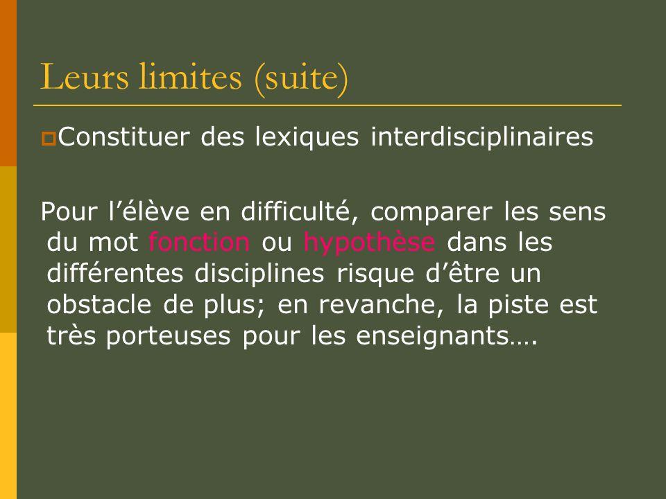 Leurs limites (suite) Constituer des lexiques interdisciplinaires Pour lélève en difficulté, comparer les sens du mot fonction ou hypothèse dans les d