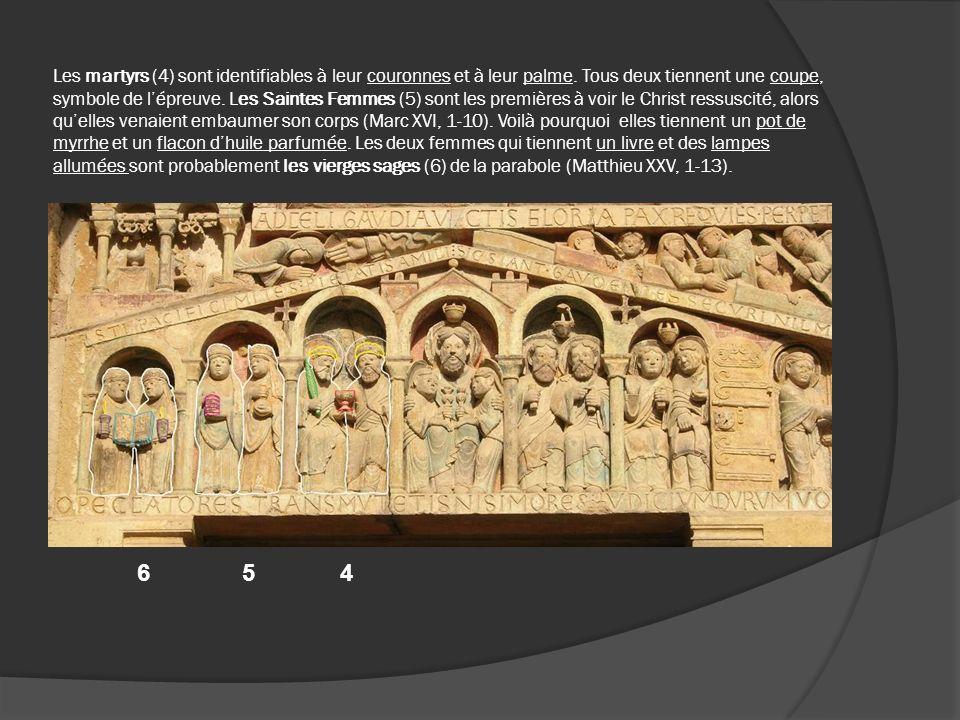 Les martyrs (4) sont identifiables à leur couronnes et à leur palme. Tous deux tiennent une coupe, symbole de lépreuve. Les Saintes Femmes (5) sont le