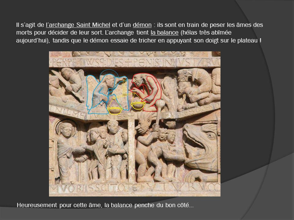 Il sagit de larchange Saint Michel et dun démon : ils sont en train de peser les âmes des morts pour décider de leur sort. Larchange tient la balance