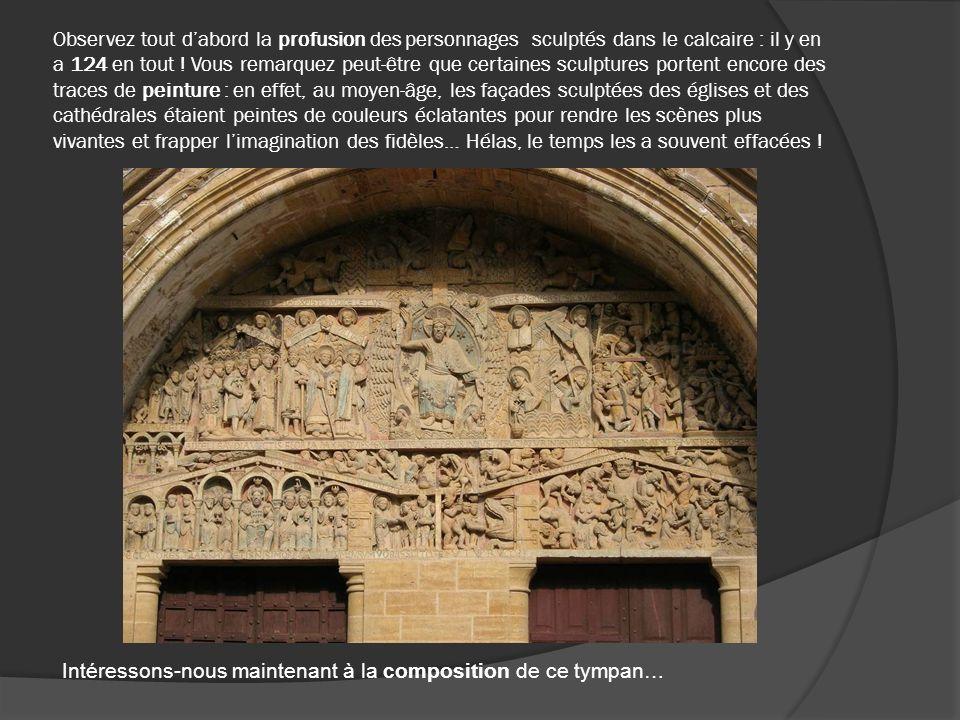 Si on surligne les bandeaux de pierre portant les inscriptions latines, on se rend compte que le tympan se compose principalement de trois grands registres horizontaux superposés.