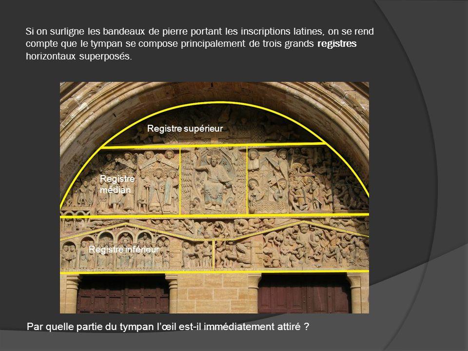 Si on surligne les bandeaux de pierre portant les inscriptions latines, on se rend compte que le tympan se compose principalement de trois grands regi