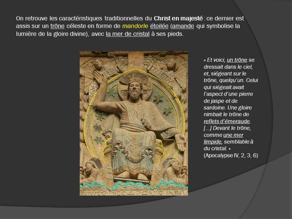 On retrouve les caractéristiques traditionnelles du Christ en majesté : ce dernier est assis sur un trône céleste en forme de mandorle étoilée (amande