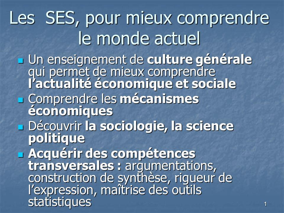 1 Les SES, pour mieux comprendre le monde actuel Un enseignement de culture générale qui permet de mieux comprendre lactualité économique et sociale U