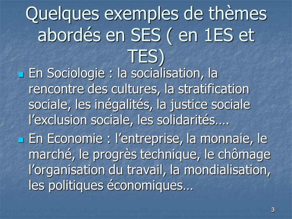 Quelques exemples de thèmes abordés en SES ( en 1ES et TES) En Sociologie : la socialisation, la rencontre des cultures, la stratification sociale, le