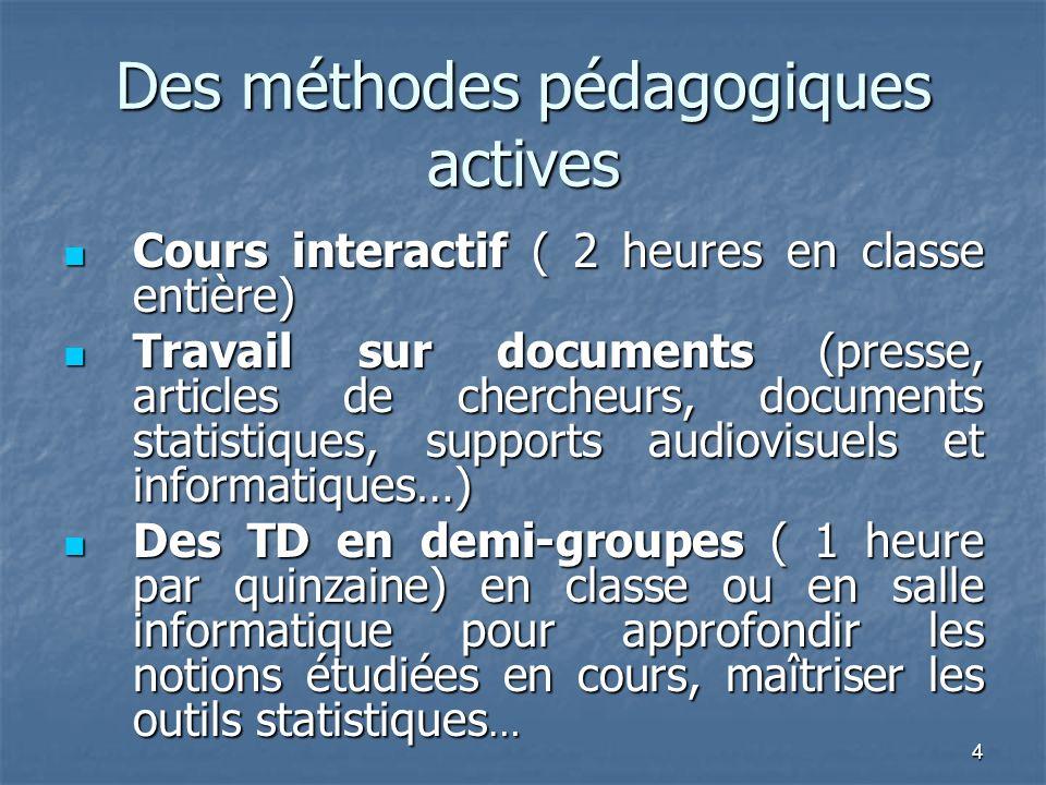 4 Des méthodes pédagogiques actives Cours interactif ( 2 heures en classe entière) Cours interactif ( 2 heures en classe entière) Travail sur document