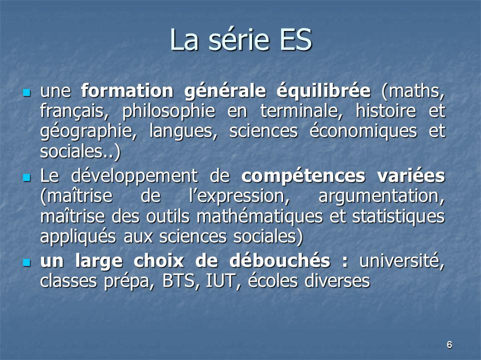 6 La série ES une formation générale équilibrée (maths, français, philosophie en terminale, histoire et géographie, langues, sciences économiques et s
