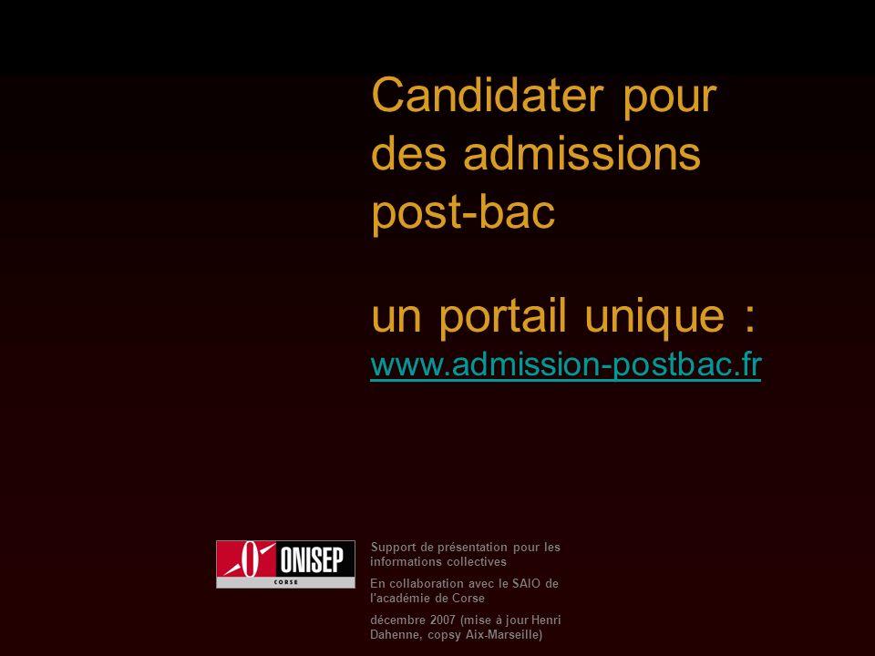 Support de présentation pour les informations collectives En collaboration avec le SAIO de l académie de Corse décembre 2007 (mise à jour Henri Dahenne, copsy Aix-Marseille) Candidater pour des admissions post-bac un portail unique : www.admission-postbac.fr