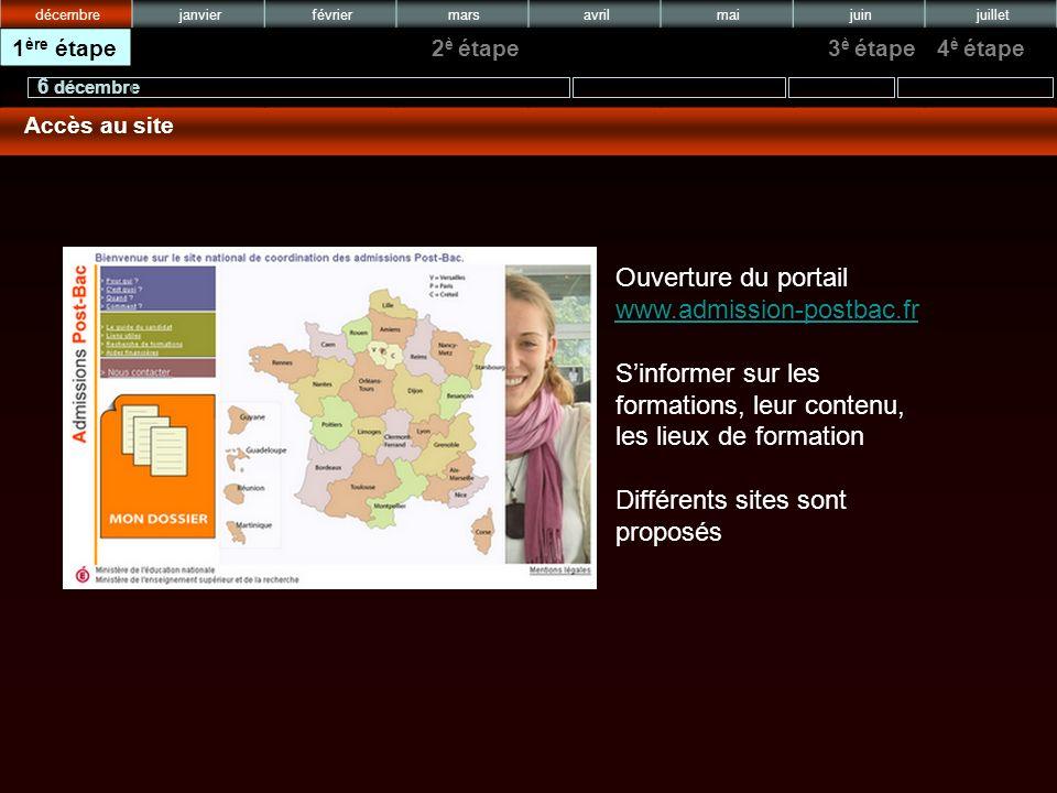Ouverture du portail www.admission-postbac.fr www.admission-postbac.fr Sinformer sur les formations, leur contenu, les lieux de formation Différents sites sont proposés 6 décembre juilletjuinmaiavrilmarsfévrierjanvierdécembre 4 è étape3 è étape2 è étape1 ère étape Accès au site