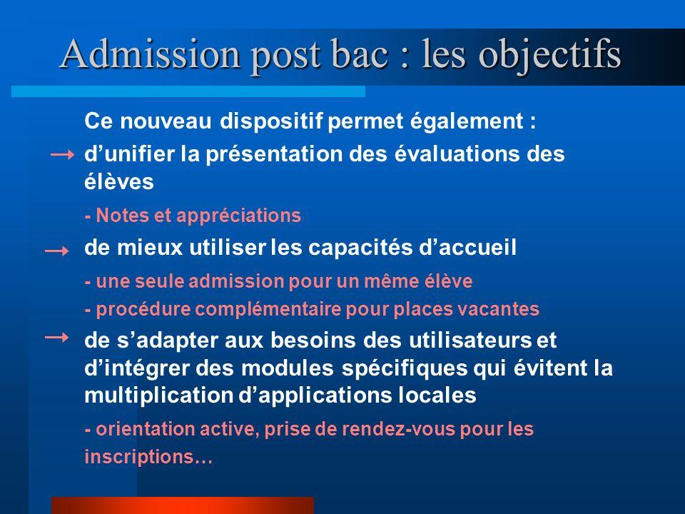 Admission post bac : les objectifs Ce nouveau dispositif permet également : dunifier la présentation des évaluations des élèves - Notes et appréciatio