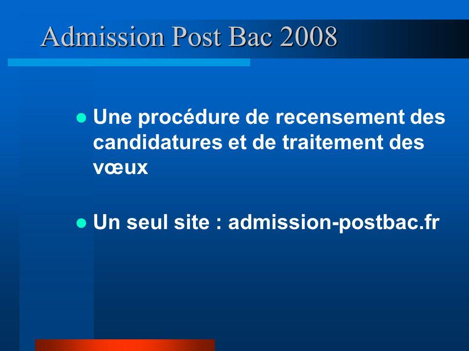 Admission Post Bac 2008 Une procédure de recensement des candidatures et de traitement des vœux Un seul site : admission-postbac.fr