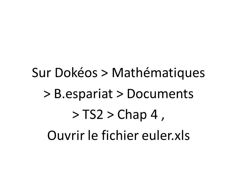 Sur Dokéos > Mathématiques > B.espariat > Documents > TS2 > Chap 4, Ouvrir le fichier euler.xls