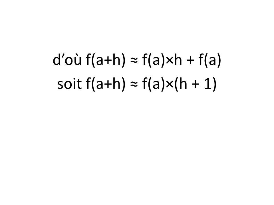doù f(a+h) f(a)×h + f(a) soit f(a+h) f(a)×(h + 1)