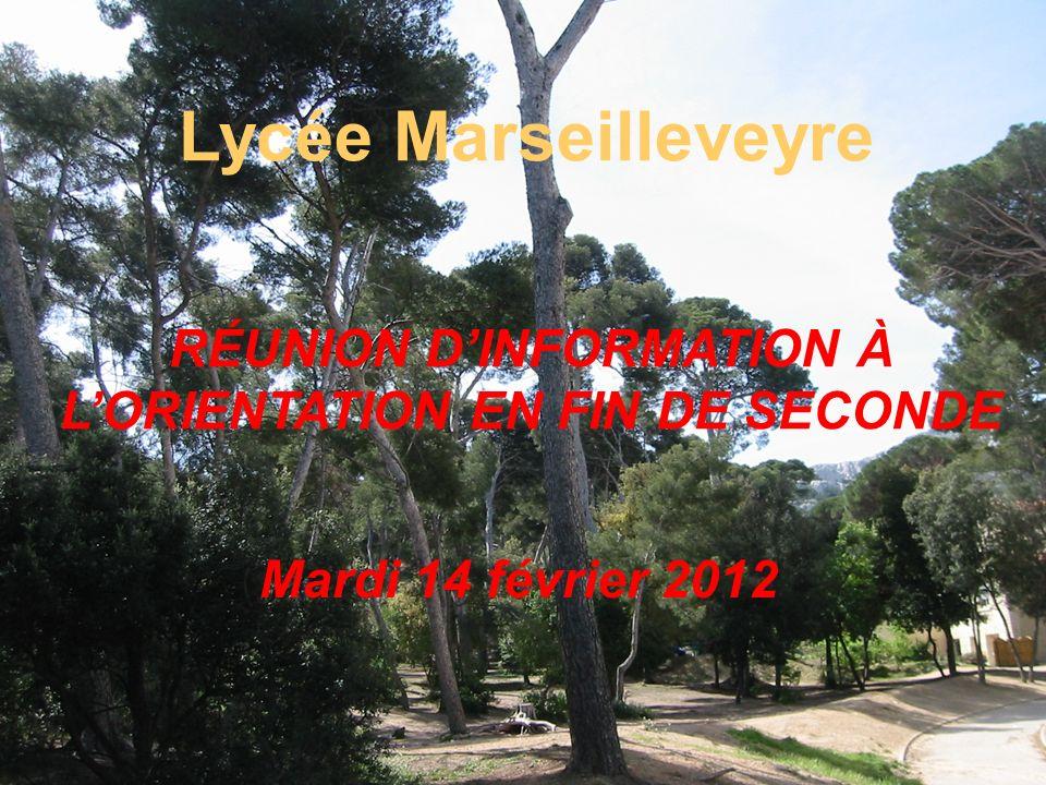 1 ère PARTIE Information sur les différentes formations et séries de premières Présentation par les conseillers dorientation psychologues intervenant au lycée Marseilleveyre