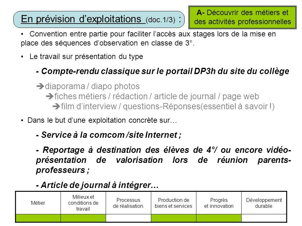 En prévision dexploitations (doc.1/3) : Convention entre partie pour faciliter laccès aux stages lors de la mise en place des séquences dobservation en classe de 3°.