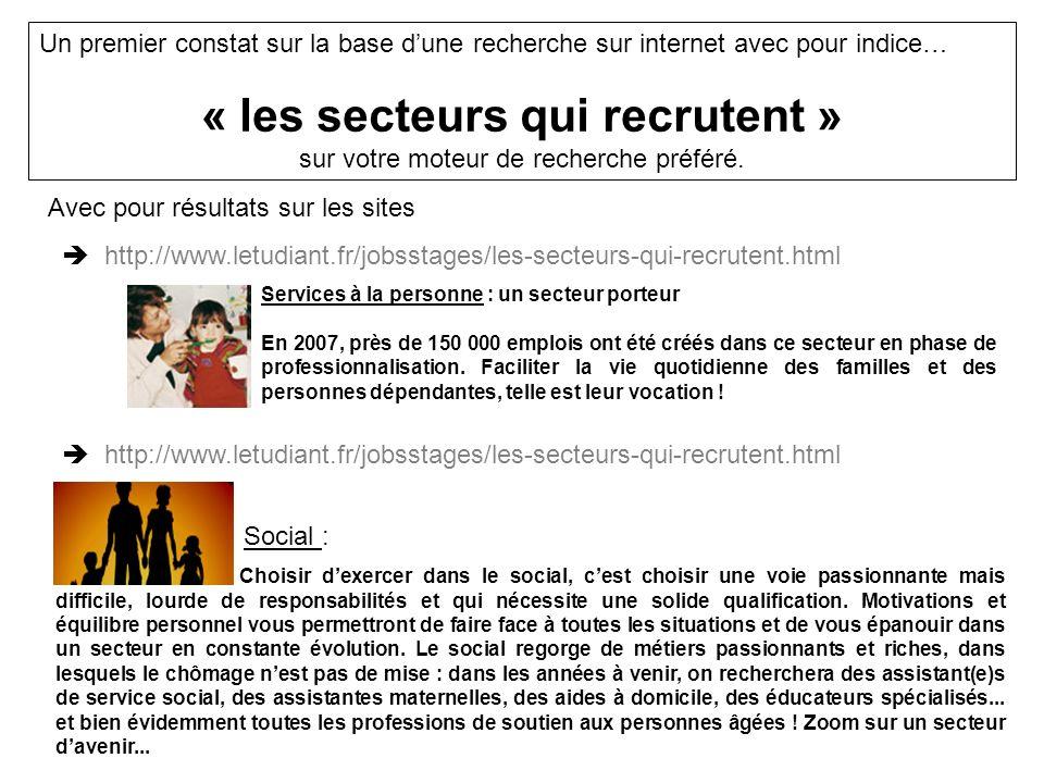 Un premier constat sur la base dune recherche sur internet avec pour indice… « les secteurs qui recrutent » sur votre moteur de recherche préféré.