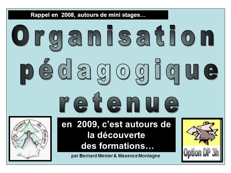 Rappel en 2008, autours de mini stages… par Bernard Menier & Maxence Montagne en 2009, cest autours de la découverte des formations…