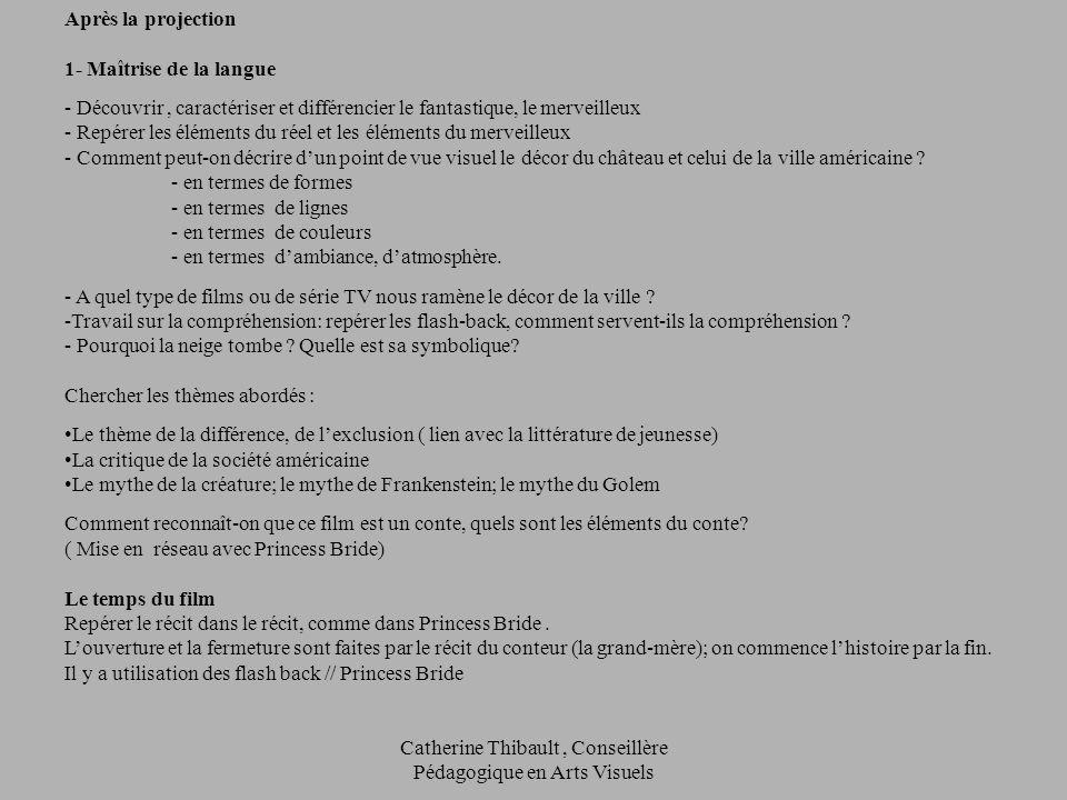 Catherine Thibault, Conseillère Pédagogique en Arts Visuels Après la projection 1- Maîtrise de la langue - Découvrir, caractériser et différencier le