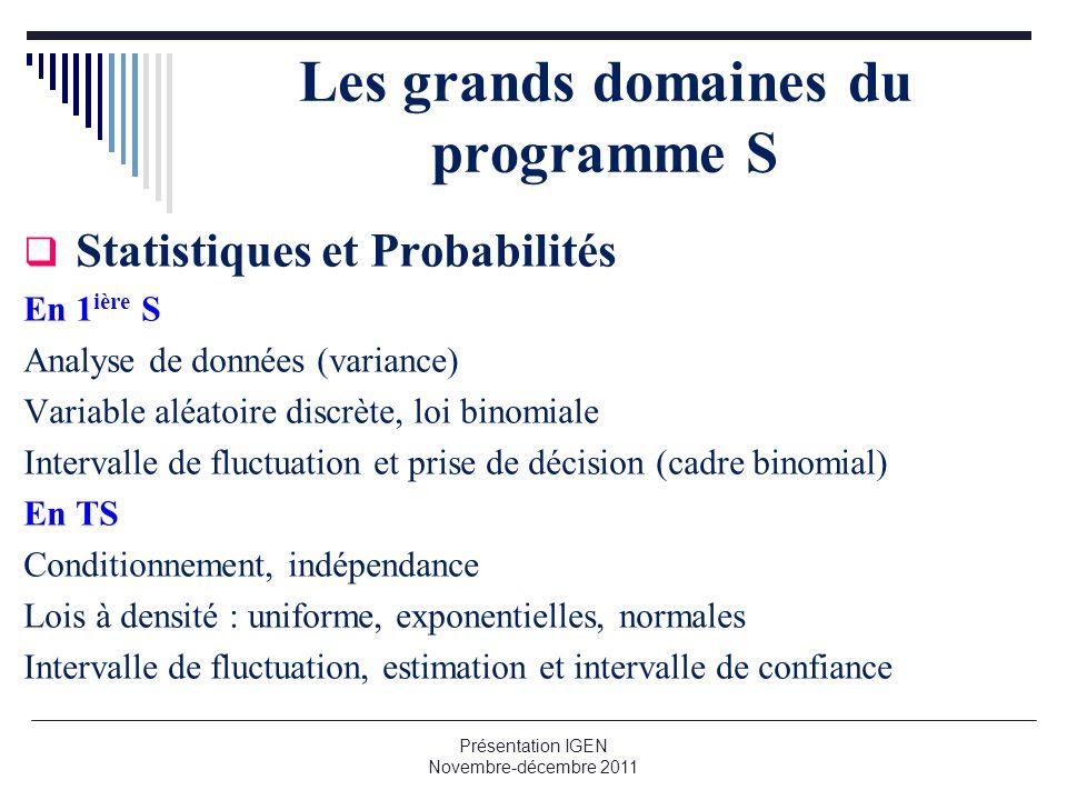 Les grands domaines du programme S Statistiques et Probabilités En 1 ière S Analyse de données (variance) Variable aléatoire discrète, loi binomiale I